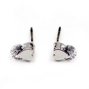 Fashion little silver heart crystal earrings
